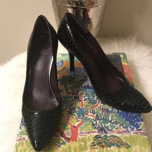 Stuart Weitzman Black Snakeskin Heels